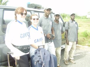 Arrival in The Gambia! Chelsea, Eleanor, Andrew Gomez, Chief Kolley and Abdou Camara (TEN)